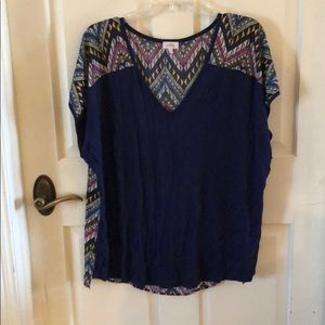 Pixley Navy front/multi-color back blouse XL